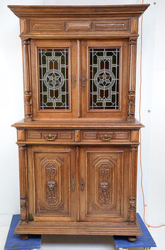 Mechelen, oak sideboard with two stained glass doors, Belgium, ca 1880.