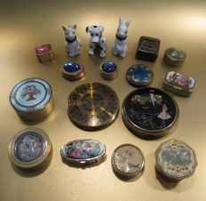 Collection of pill boxes and powder compacts, enamel, celluloid, porcelain, etc.