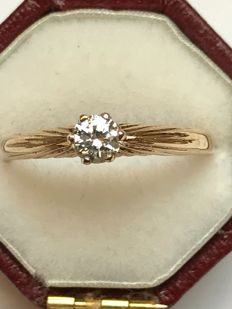 Art Deco style solitaire diamond 18k gold ring size 56