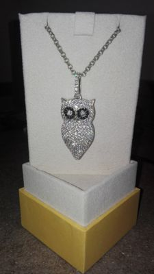Roberto Giannotti - hand-crafted necklace - Owl in sterling silver with Swarovski crystals - Base:  3.3 cm - Height:  7 cm