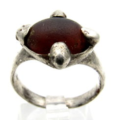 Saxon Era Silver Ring with Red Stone - 19 mm