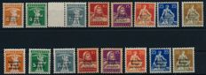 Service stamps for the Industrial war economy - 1918 - free stamps with thin and thick overprint, Michel 1-8 I/II