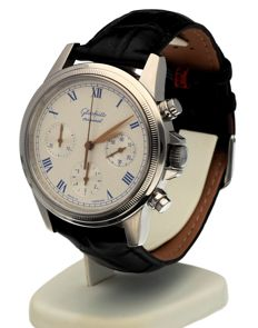 GUB Glashütte - GUB Glashütte Chronograph Steel White Roman 40 MM - 200171 - Mænd