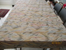Large table cloth of silk damask with print.