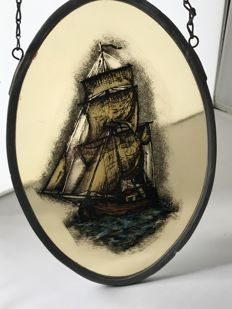Ship in the storm, oval stained glass window - the Netherlands - 2nd half of 20th century