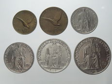 Vatican City – Series of 5, 10, 20, 50 cents and 1, 2 lire 1944 Pio XII (six pieces)