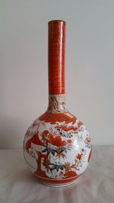 Kutani porcelain pipe vase - Japan - 1st half 20th century