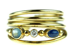 18 kt yellow gold fantasy women's ring with diamonds, topaz and sapphire - ring size 18.5