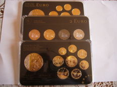 "Europe - 2 x Coin set ""gold plated and rhodium"" (vatican probe , chypre euro) + set germany plated (different precious metal)"