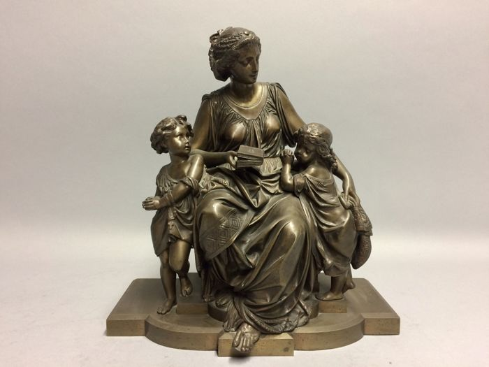 Albert-Ernest Carrier-Belleuse (1824-1887) - bronze sculpture of a mother who reads from the Bible to children - France -c. 1850-70