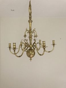 Heavy large brass six arm chandelier with candles - France - early 18th century
