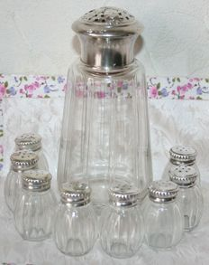 Set of eight salt shakers, sterling silver and crystal, from Christofle silversmiths + Superb, antique sugar sprinkler, sterling silver and crystal, minerva's head hallmark