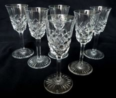 Baccarat - 6 crystal water glasses, Burgos pattern - signed - 18.3cm., 1930's