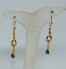 14K yellow gold Ladies earrings with synthetic stones - 36 mm