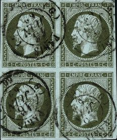 France 1860 - Non-serrated Empire, 1 centime, dark olive, block of 4 - Yvert 11