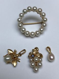 14k pearls gold set 3 pendent and 1 brooch