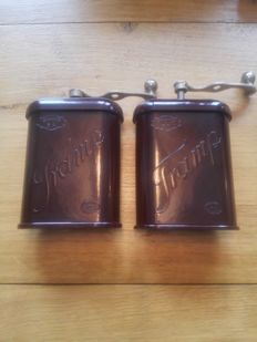 Tramp travel coffee grinders of bakelite