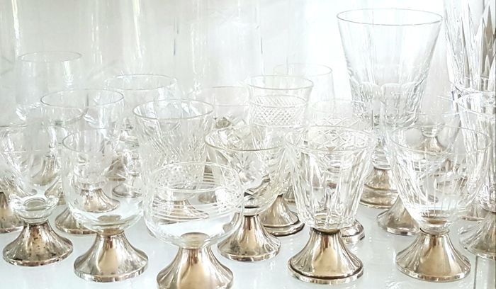 31 cut crystal glass with marked silver base, Netherlands