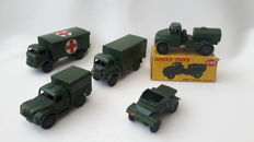 Dinky Toys - Scale 1/48 - Lot with Army Wagon No.623, Military Ambulance No.626, Army 1-ton Cargo Truck No.641, Army Water Tanker No.643 and Scout Car No.673