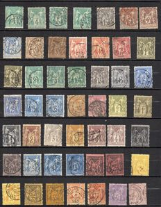 France 1876/98 - Paix et Commerce Selection, Sage types I and II with colour variety - Yvert between no. 61 and 106