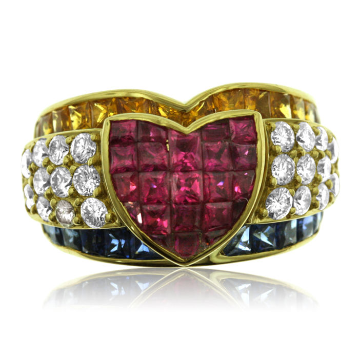One-off Diamond, Ruby and Sapphire Ring, New. Ring size: 54-17-N 1/2 (UK). 13.8 gram