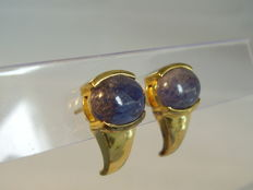 Signed ear plugs with big, real tanzanite cabochons of 5.2ct in total