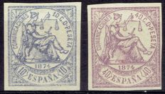 Spain 1872 - 1st Republic - Edifil 145s, 148s.