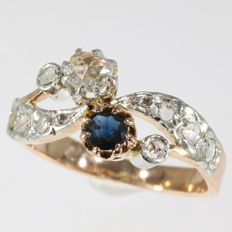 "French antique love ring, so called ""toi et moi"" (you and me) diamonds and sapphires - circa 1870"