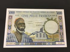 West African States - Ivory Coast - 5000 Francs ND (1961-1965) - Pick 104Ae