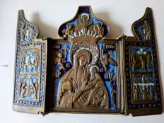 Bronze enamelled travel icon triptych Belgium