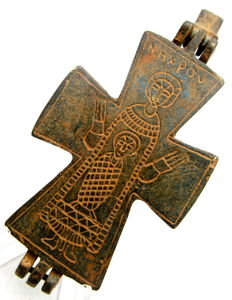 Large Medieval Crusaders Reliquary (double cross - Enkolpion) Pendant - 111 x55 mm