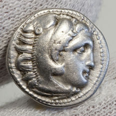 Macedonia -- Alexander III the Great (336–323 B C) AR Drachma, Colophon, LYRA