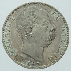 Kingdom of Italy, 2 Lira coin from 1897, Umberto I – Silver