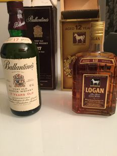 2 bottles - Ballantine's 17 years old & Logan 12 years old - 1980s