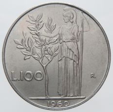 Republic of Italy - 100 Lire 1960 'Minerva'