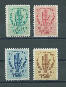 Spain 1938 - Complete series of the 2nd Anniversary of the National Uprising - Edifil number 851/854