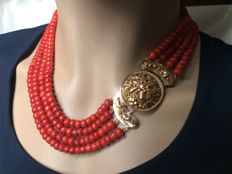 Necklace.  Antique, Special Gold Clasp &  Four Strands. Blood red, 100% genuine precious corals.