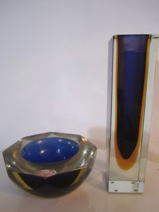 Murano - Sommerso block vase and ashtray in Murano glass
