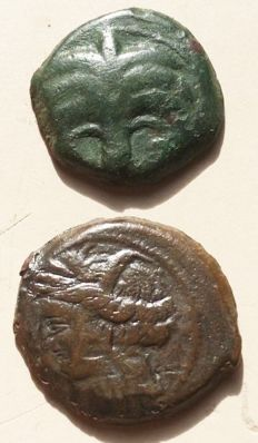 Greek Antiquity - Sicily - Zeugitania, Carthage – Æ Lot two bronze coins (300-264 BC)-(340-320 BC)