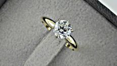 1.01 ct round diamond ring 14 kt in yellow gold *** NO RESERVE PRICE ***