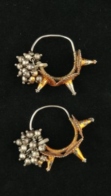 Earrings in silver gilt - Pakistan, mid-20th Century
