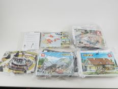 Faller H0 - 180627/190208/120492/B-306/B-232/130307 - Lot with five unbuilt buildings and water pump