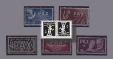 Switzerland - Composition with PAX series, dos-à-dos and bridge pairs on album sheets