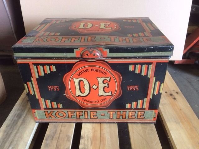 Douwe Egberts coffee and tea storage tin.
