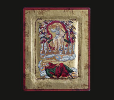 Beautiful Hand Painted Miniature Icon 'St. John's Vision of Christ'