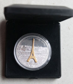 Cook Islands - 10 Dollars 2007 'Eiffel Tower' sculpture coin partly gold-plated - 1 oz silver