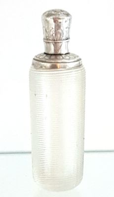 Perfume bottle Frisian wire glass with marked silver top and cap.