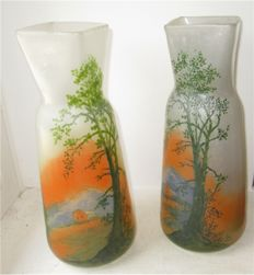 François-Théodore Legras (1839-1916) - Pair of glass vases with enamelled decor of fir trees on a mountain landscape background