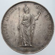 "Provisional Government of Lombardy - 5 Lire, 1848, Milan, ""Stella vicino alla testa"" (star near the head) specimen - silver"
