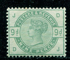 Great Britain 1883/84 - Queen Victoria - 9 pence, dull green, Stanley Gibbons 195, watermark inverted
